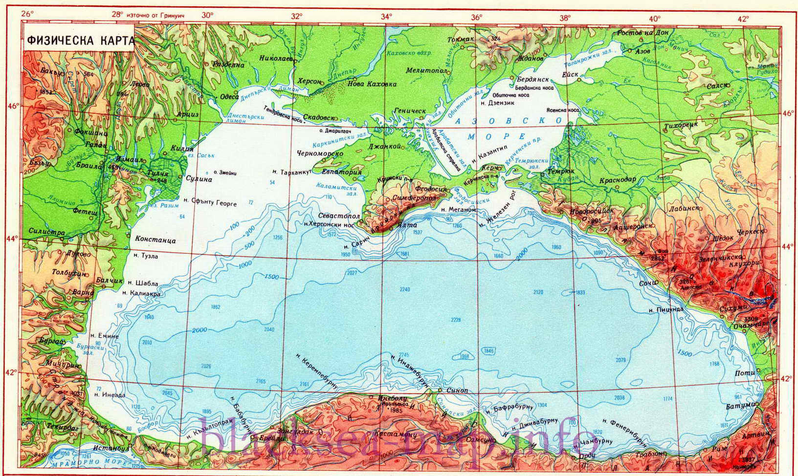 Карта черное море карта побережья